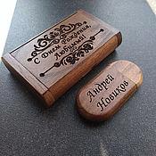 Сувениры и подарки handmade. Livemaster - original item Wooden flash drive with engraving (souvenir, 32 GB memory). Handmade.