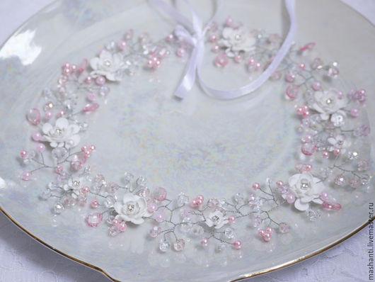 Свадебные украшения ручной работы. Ярмарка Мастеров - ручная работа. Купить свадебный комплект в розовой гамме (веночек и браслет). Handmade.