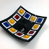 Plates handmade. Livemaster - original item Bright plate of glass. Handmade.