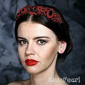 Украшения handmade. Livemaster - original item Soutache headband tiara Hellfire red with black. Handmade.