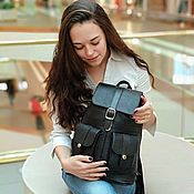 Сумки и аксессуары handmade. Livemaster - original item Backpack leather women`s black Classic Mod P12-111. Handmade.