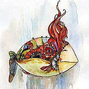 """Картины и панно ручной работы. Ярмарка Мастеров - ручная работа Картина акварель с рамой """"Рыба с красными волосами"""". Handmade."""