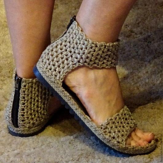 Обувь ручной работы. Ярмарка Мастеров - ручная работа. Купить Сандалии  уличные Хаки, бохо, серый, лен, р.37.5. Handmade.
