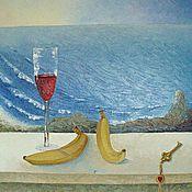 Картины и панно ручной работы. Ярмарка Мастеров - ручная работа Картина маслом Бокал вина с видом на море. Handmade.