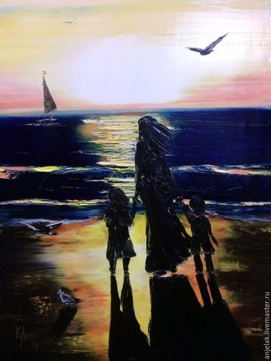 """Пейзаж ручной работы. Ярмарка Мастеров - ручная работа. Купить """"У моря"""". Handmade. Тёмно-синий, море, море живопись"""