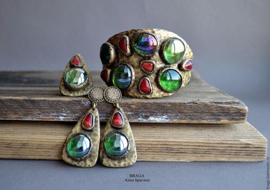 Комплекты украшений ручной работы. Ярмарка Мастеров - ручная работа. Купить Комплект Византия с зеленым стеклом. Handmade. Тёмно-зелёный