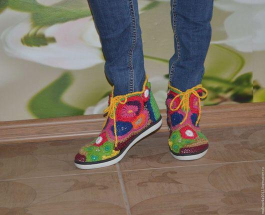 """Обувь ручной работы. Ярмарка Мастеров - ручная работа. Купить кеды летние вязаные """"Лето"""". Handmade. Желтый, вискоза"""