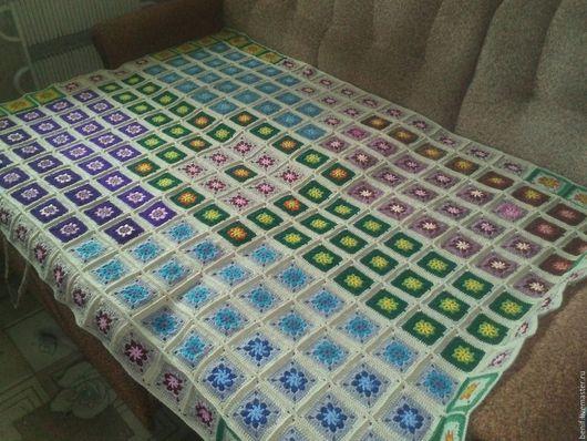Текстиль, ковры ручной работы. Ярмарка Мастеров - ручная работа. Купить Вязанное крючком покрывало-одеяло в стиле пэчворк. Handmade.