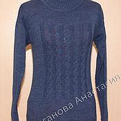 Одежда ручной работы. Ярмарка Мастеров - ручная работа Пуловер - синий меланж. Handmade.