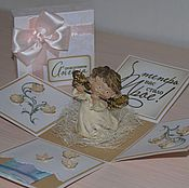 """Открытки ручной работы. Ярмарка Мастеров - ручная работа Коробочка-сюрприз """"С рождением ангела!"""". Handmade."""