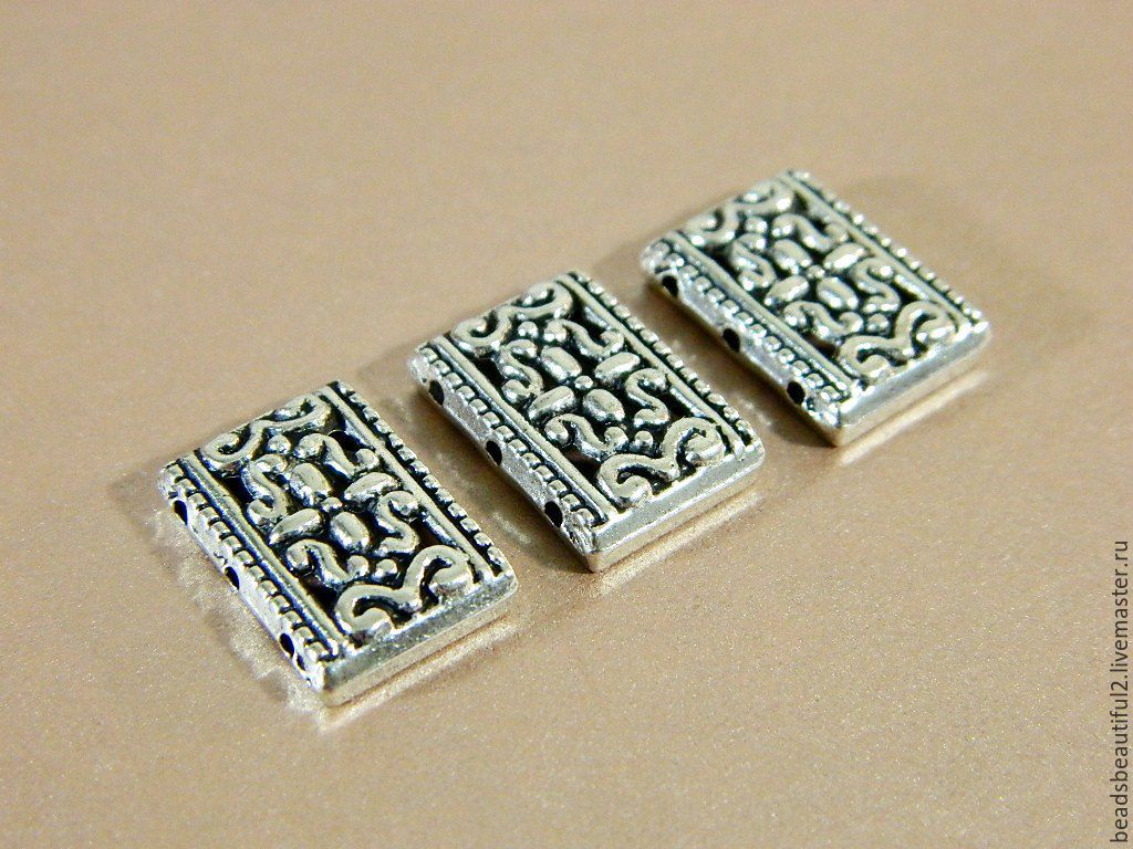 Separator beads on 3 strands, antique silver, 18 x 12 mm. 2 PCs, Accessories4, Saratov,  Фото №1