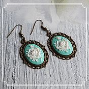 Субкультуры handmade. Livemaster - original item Earrings with cameos (rose, background-mint). Handmade.