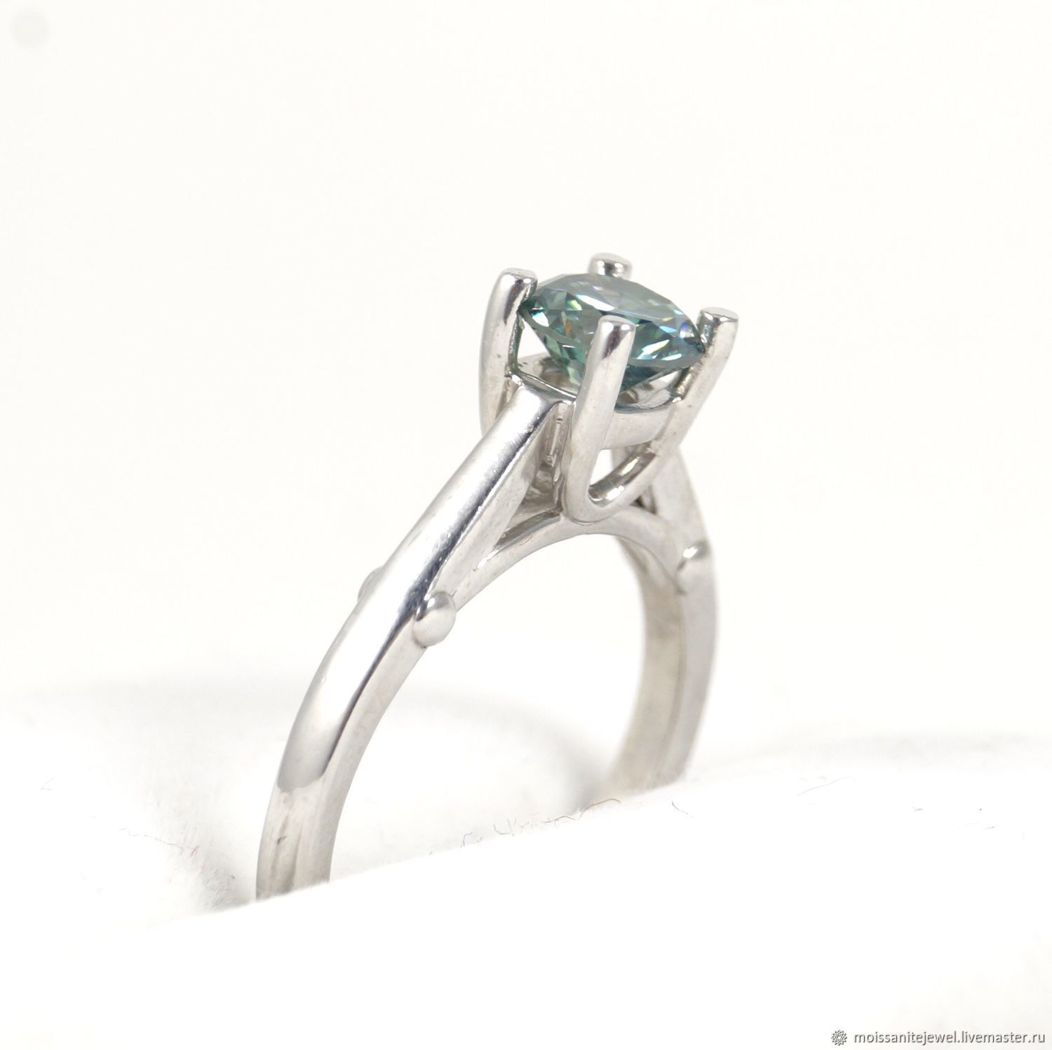 925 Solid Sterling Silver 0.86 ct. Blue Moissanite, Rings, Ryazan,  Фото №1