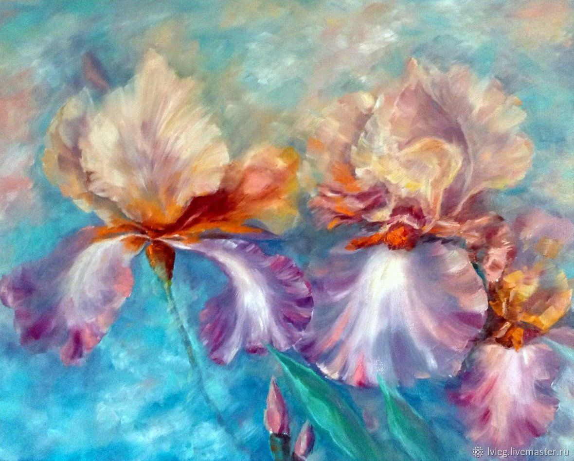 Oil painting caramel irises canvas flowers irises shop online handmade livemaster handmade buy oil painting caramel irises canvas flowers handmade izmirmasajfo