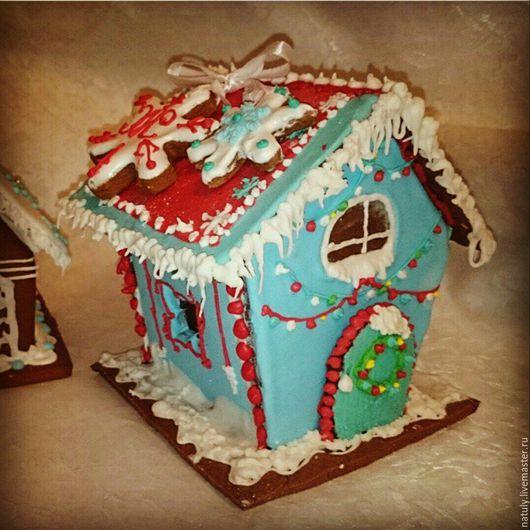 Новый год 2017 ручной работы. Ярмарка Мастеров - ручная работа. Купить Пряничный домик. Handmade. Голубой, пряник, пряничный домик