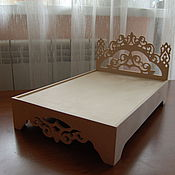 Материалы для творчества handmade. Livemaster - original item Dollhouse bed double high back 338. Handmade.