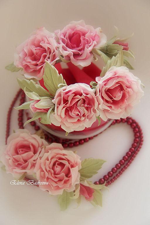 """Свадебные украшения ручной работы. Ярмарка Мастеров - ручная работа. Купить Веточки роз """"Caroline"""". Handmade. Коралловый, заколка с розами"""