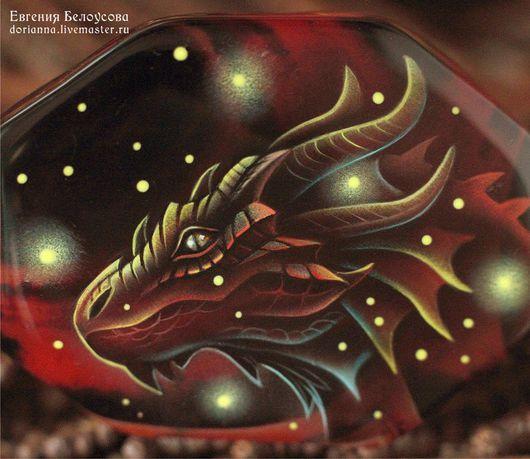 """Браслеты ручной работы. Ярмарка Мастеров - ручная работа. Купить Браслет с росписью """"Огненный дракон"""" (пламя, агат, лаковая миниатюра). Handmade."""
