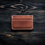 Business card holders handmade. Livemaster - original item Men`s Odal brown leather cardholder. Handmade.