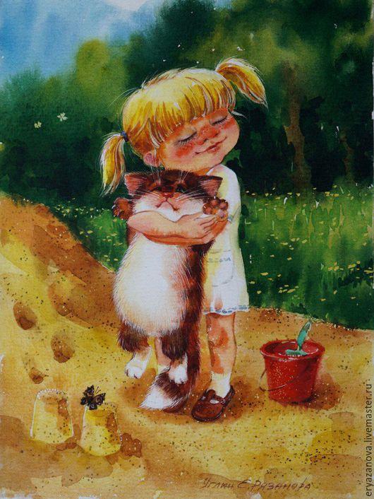 Фантазийные сюжеты ручной работы. Ярмарка Мастеров - ручная работа. Купить Картина акварелью Девочка с котом, Девочка в одуванчиках, Снеговик. Handmade.