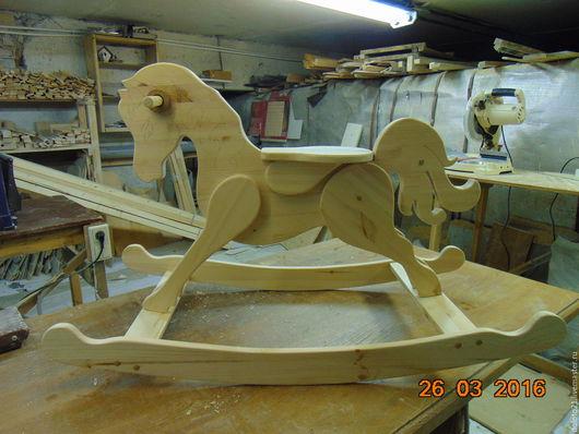 Игрушки животные, ручной работы. Ярмарка Мастеров - ручная работа. Купить лошадка качалка. Handmade. Желтый, сосна