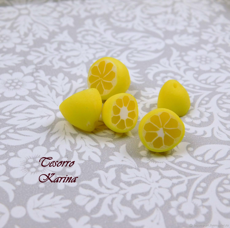 Половинки лимона из полимерной глины, полупросверленные, Бусины, Солнечногорск,  Фото №1