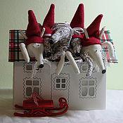 Куклы и игрушки ручной работы. Ярмарка Мастеров - ручная работа мюкла новогодняя петсон и финдус. Handmade.