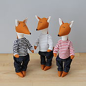 Куклы и игрушки ручной работы. Ярмарка Мастеров - ручная работа Лисята Eins, Zwei und Drei - мягкая игрушка в стиле тильда. Handmade.