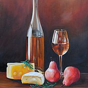 Картины и панно handmade. Livemaster - original item Oil Painting Still Life with White Wine and Cheese. Handmade.