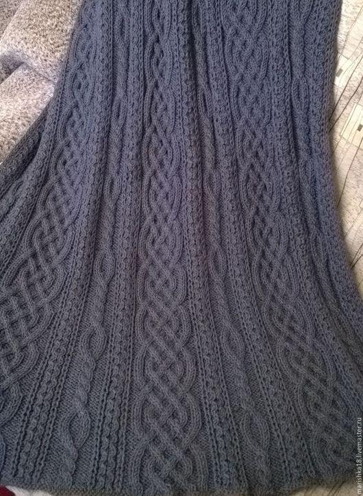 Текстиль, ковры ручной работы. Ярмарка Мастеров - ручная работа. Купить плед Косы. Handmade. Темно-серый, плед вязаный