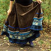 """Одежда ручной работы. Ярмарка Мастеров - ручная работа Вельветовая юбка """"История синего цветка"""". Handmade."""