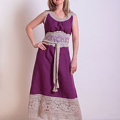 Одежда handmade. Livemaster - original item Linen sundress with lace