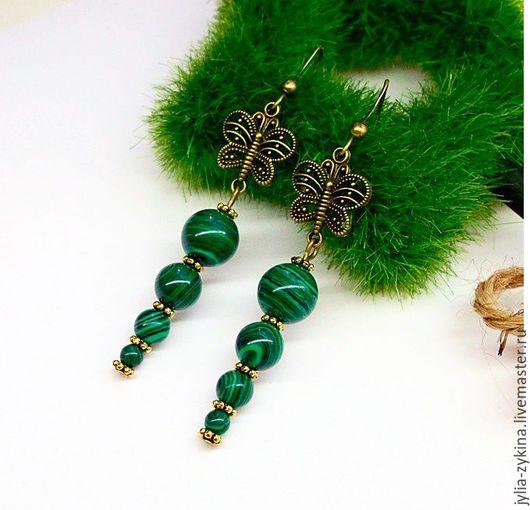 Серьги из малахита, длина серьги швензы серьги - серебро. серьги - замечательный подарок на любой праздник! Серьги малахитовые зеленые.