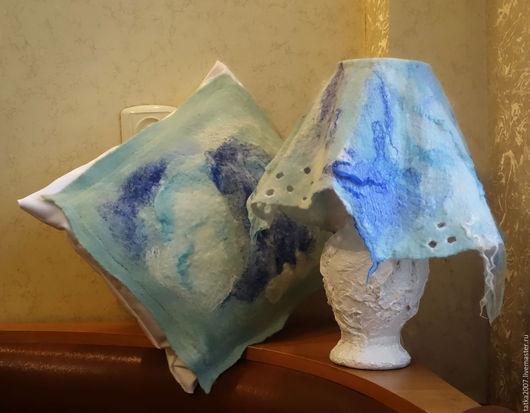 """Освещение ручной работы. Ярмарка Мастеров - ручная работа. Купить Настольная лампа """" Голубая лагуна"""". Handmade. Бирюзовый, думочка"""
