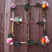 """Цветы и флористика ручной работы. Ярмарка Мастеров - ручная работа Панно-венок на дверь,стену """"За окном..."""". Handmade."""