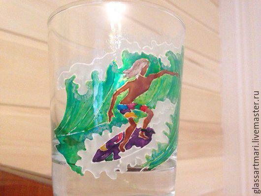 Бокалы, стаканы ручной работы. Ярмарка Мастеров - ручная работа. Купить Стакан для виски роспись Сёрфер. Handmade. Морская волна