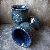 "Посуда handmade. Livemaster - original item Пара кубков ""Синий кобальт"". Handmade."