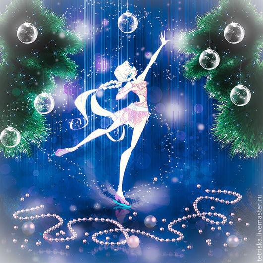 Иллюстрации ручной работы. Ярмарка Мастеров - ручная работа. Купить Новогодняя фантазия. Handmade. Синий, лед, ель, Новый Год