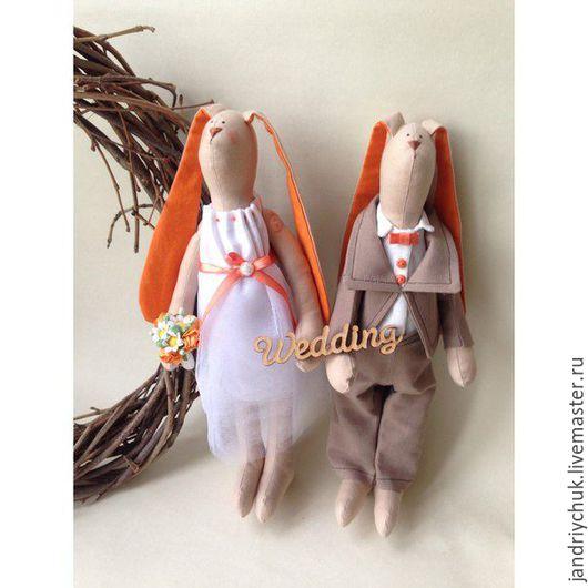 Куклы Тильды ручной работы. Ярмарка Мастеров - ручная работа. Купить Зайцы Тильда. Handmade. Оранжевый, зайцы свадебные
