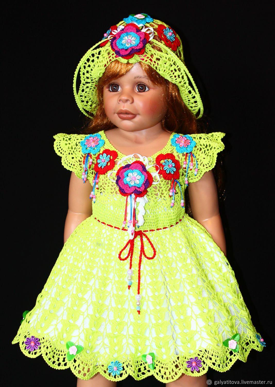 Вязаное детское платье+шляпка крючком