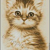 """Схемы для вышивки ручной работы. Ярмарка Мастеров - ручная работа Авторская схема вышивки крестом """"Котёнок рыжий"""". Handmade."""
