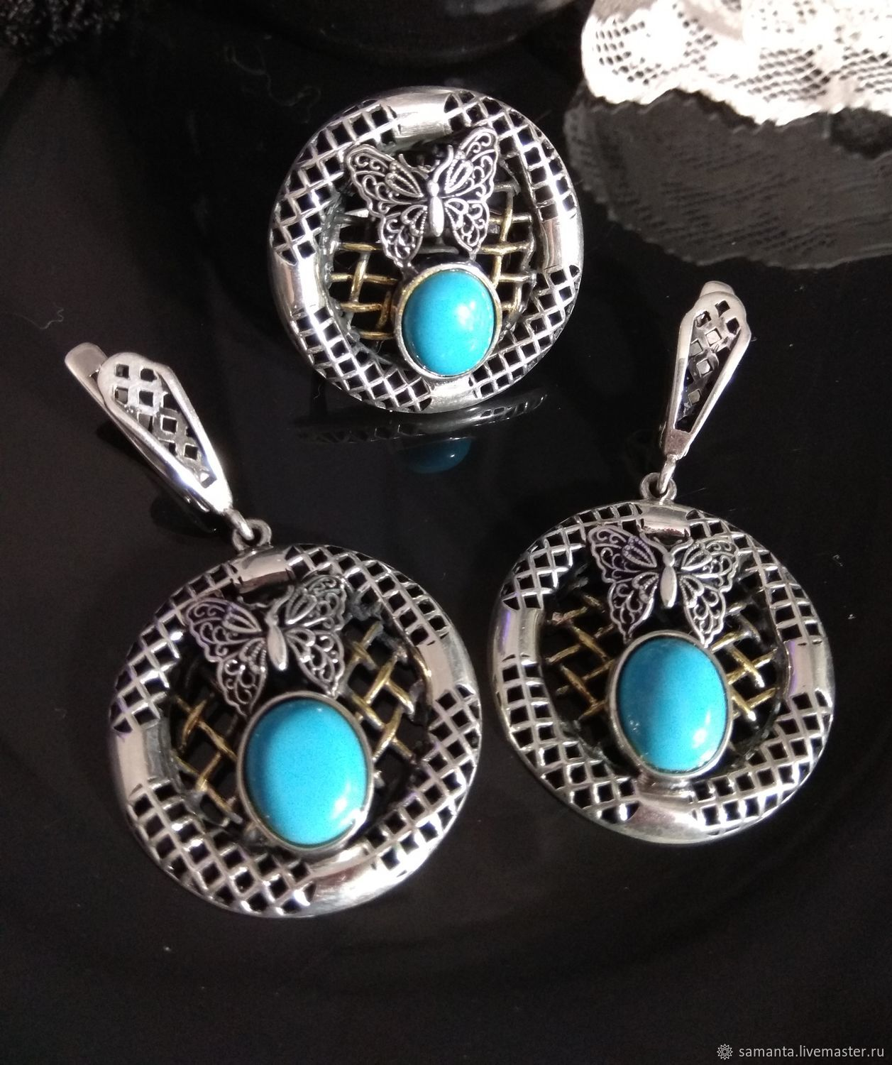 Set with turquoise and butterflies, Vintage jewelry sets, Tel Aviv,  Фото №1