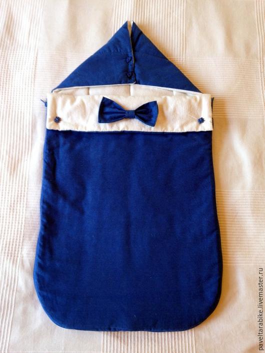 """Для новорожденных, ручной работы. Ярмарка Мастеров - ручная работа. Купить Конверт для новорожденного """"Джентльмен"""". Handmade. Тёмно-синий"""