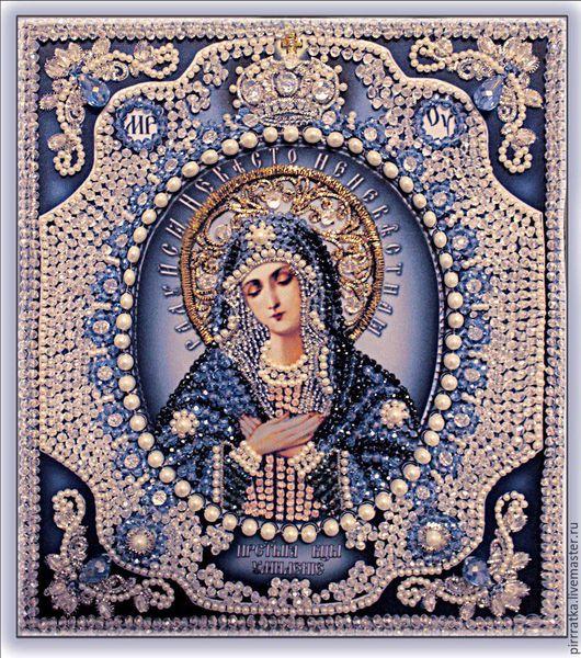 Набор `Образа в каменьях` икона Богородица Умиление с жемчугом майорика