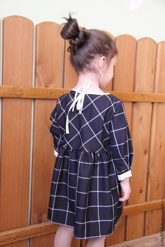 Одежда для девочек, ручной работы. Ярмарка Мастеров - ручная работа. Купить платье в клетку. Handmade. Тёмно-синий, платье для девочки