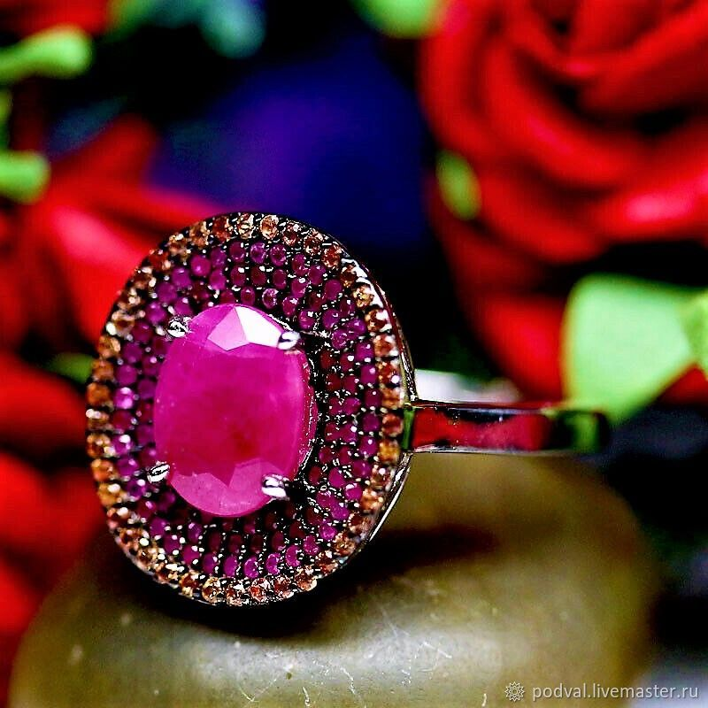 Silver ring with Burmese ruby 'Michel' (p 17), Rings, Korolev,  Фото №1