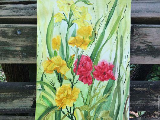 Цветы. Розы.Лилии. Гладиолус.Картина акварелью. В красных, желтых, зеленных, охристых тонах. Легкая, воздушная. Ручная работа. Купить картину. Подарок.