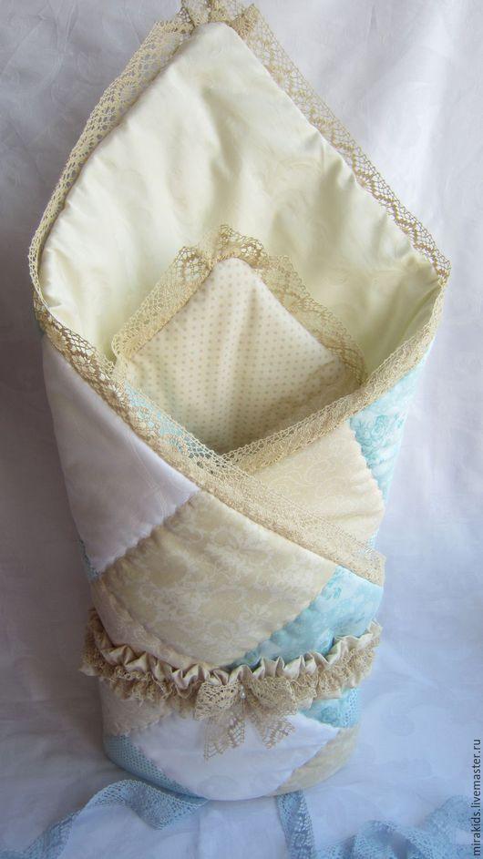 Для новорожденных, ручной работы. Ярмарка Мастеров - ручная работа. Купить Лоскутное одеяло,конверт на выписку. Handmade. Бирюзовый