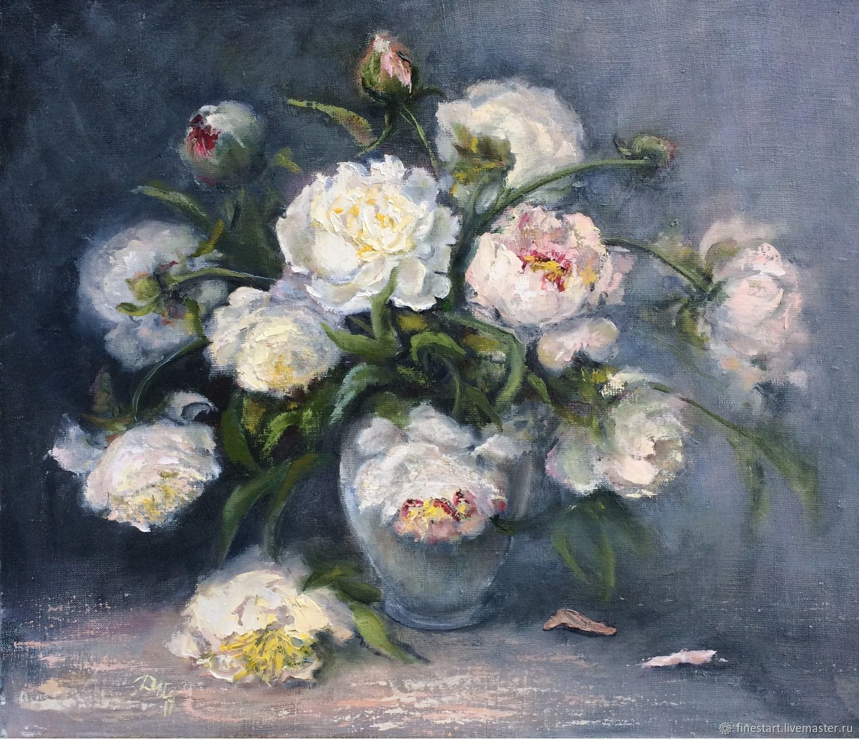 Oil painting White peonies Buy oil painting Buy painting flowers Painting oil painting canvas