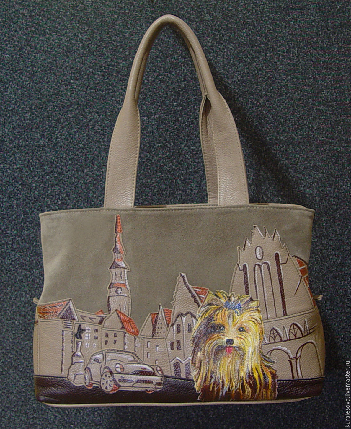 applique made of suede and leather, painted with acrylic